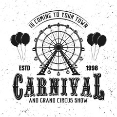Carnival funfair and ferris wheel black emblem