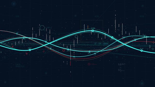 Statistics big data analytics indicators, business strategy digital graph indicating progress