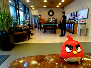 An Angry Birds game character is seen at the Rovio headquarters in Espoo