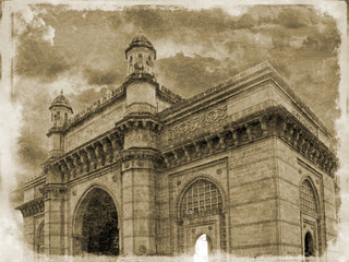 Simulated Victorian photograph of the Gateway to India, Mumbai