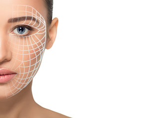 beautiful woman face with lifting arrows on skin . Concept of facial lifting, mesotherapy and anti aging cosmetology procedure
