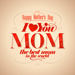 Mothers's Day typographical card.