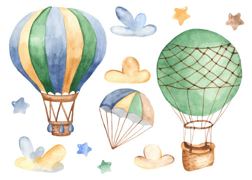 Air transport in watercolor. Children's cartoon illustration of a dirigible, airplane, rocket, helicopter for postcards, invitations, baby showers, children's clothing.