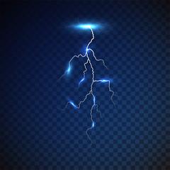 Lightning strike on transparent background. Flash of lightning. thunderbolt. Thunder. Vector illustration. EPS 10.