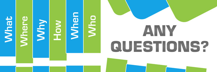 Any Questions Green Blue Abstract Shapes Horizontal