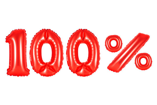 100 (one hundred) percent, red color