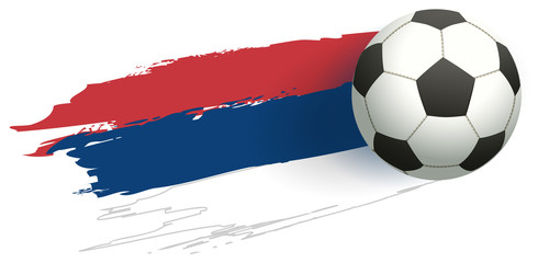 Tricolor serbia flag and soccer ball flying