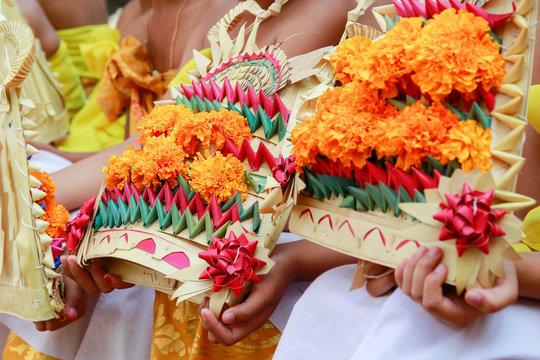 Bali dancer preparation before performing