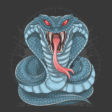 COBRA SNAKE FULL BODY BLUE VECTOR