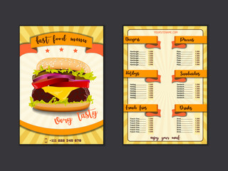 Fast food restaurant menu template. Lunch dishes and drinks list with prices and burger, pizza, hot dog, soda, fries, coffee, donut, sandwich for folding brochure design
