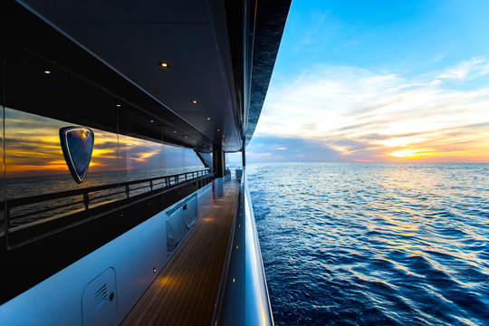 Beautiful sunset visible from a trip on a yacht
