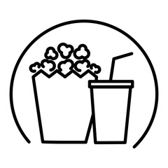 popcorn and soda isolated icon