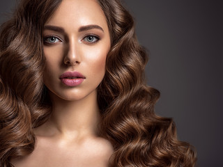 Beautiful woman with long brown hair.