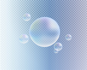 Vector transparent colorful soap bubble.  3d realistic bubbles on blue transparent background. Big and small. Soap water bubbles, water, oxygen, drop, air. Close up.