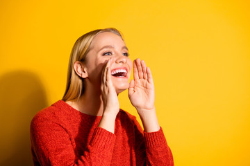 Close-up portrait of her she nice-looking attractive fascinating lovable sweet cheerful cheery girl asking saying rumour isolated over bright vivid shine orange background