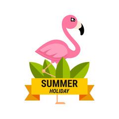 cartoon flamingo girl vector label