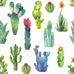 Cacti seamless pattern. Watercolor cacti pattern for wrapping paper or scrapbooking..