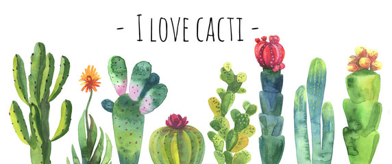 Cacti watercolor collection set. Cacti isolated on white. Cacti banner for scrapbooking etc. Florishing cactus, blue cacti, cactus flower.