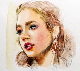 Beautiful woman portrait in watercolor illustration