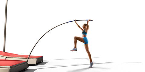Isolated Young female pole vault athlete with pole bar in starting line. Women in sport clothes on white background