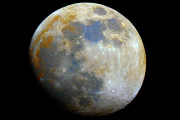 Close up to Mineral Moon taken by telescope in the dark space, with its natural colors.