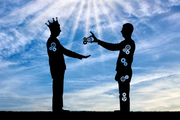 Altruist gives man sacrificing a part of themselves and selfish man with a crown takes