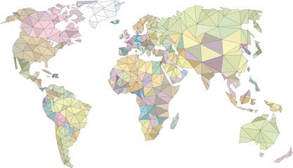 Obraz świat low poly, world low poly, kolorowa mapa świata, mapa - fototapety do salonu