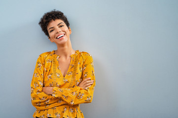 Cheerful african woman smiling