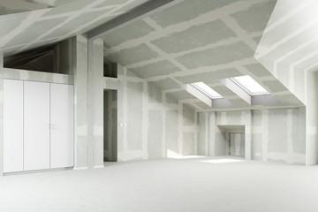 Gespachtelter Trockenbau in Dachgeschoss Loft