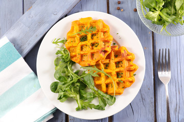 sweet potato waffle and salad