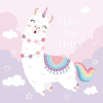 Cute llama unicorn and rainbow floating in the sky.