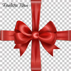 Realistic satin glamorous red bow with ribbons for gift box. Vector illustration.