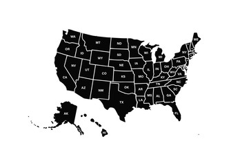 Wall Mural - Blank similar USA map isolated on white background. United States of America usa country. Vector template usa for website, design, cover, infographics. Graph illustration.
