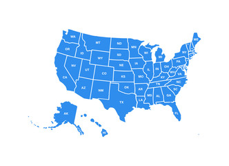 Blank similar USA map isolated on white background. United States of America usa country. Vector template usa for website, design, cover, infographics. Graph illustration. Fototapete