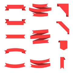 Wall Mural - Flat vector ribbons banners flat isolated on white background, Illustration Set of 50 ribbons.