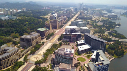 Aerial view of roads in Putrajaya City with garden landscape design. Federal territory of Malaysia in Kuala Lumpur City