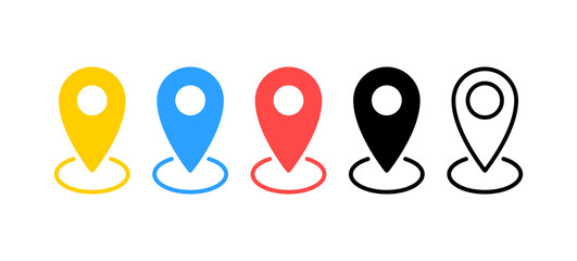 Wall Mural - Map pin icons set. Location sign. Navigation map, gps concept. Vector illustration.