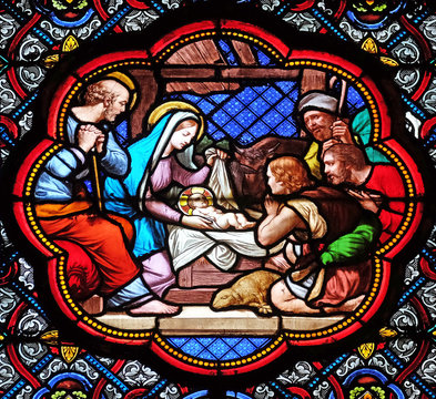 Nativity Scene, Adoration of the Shepherds, stained glass window in the Basilica of Saint Clotilde in Paris, France