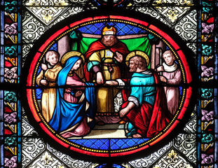 Marriage of St Joseph and Virgin Mary, stained glass window in the Basilica of Saint Clotilde in Paris, France