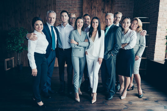 Full length body size photo different age mixed race multiethnic business people friendly stand close she her he him his together best brigade arrange new project team power formal wear jackets shirts