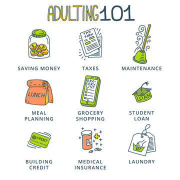 Adulting is hard concept. Set of doodle icons.