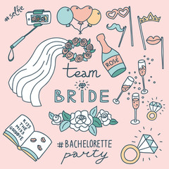 Bachelorette party concept. Set of objects. Pastel color doodle.