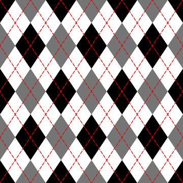 Black and white argyle geometric checkered seamless pattern, vector