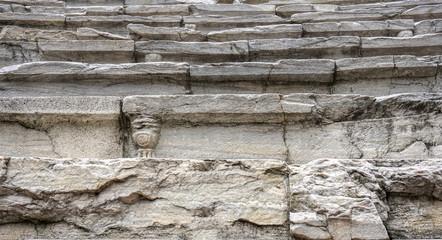 Marble seats from the Roman stadium