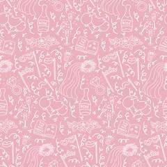 Bachelorette party concept. Seamless pattern. Monochrome doodle.