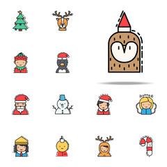 Owl christmas colored icon. Christmas avatars icons universal set for web and mobile