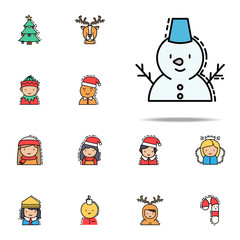 Snowman colored icon. Christmas avatars icons universal set for web and mobile