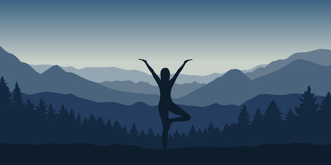 girl makes yoga pose at beautiful blue mountain and forest landscape vector illustration EPS10