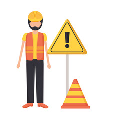 construction worker traffic caution sign