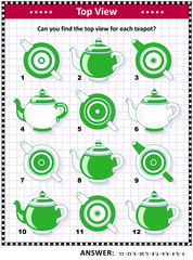 IQ, memory and spatial skills training visual puzzle: Can you find the top view for each teapot? Answer included.